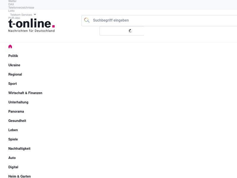 Screenshot von www.t-online.de