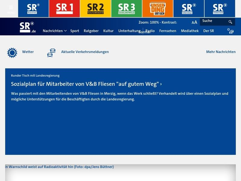 Screenshot von www.sr.de